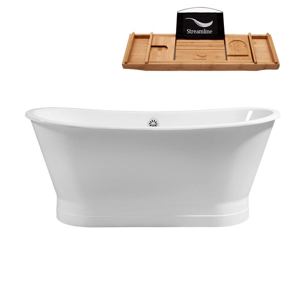 67 in. Cast Iron Flat Bottom Non-Whirlpool Bathtub in White