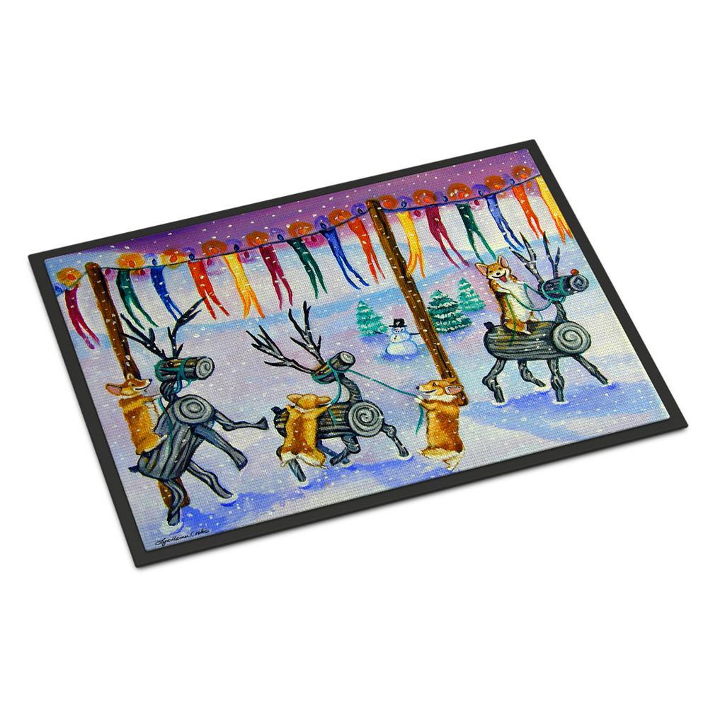 18 in. x 27 in. Indoor/Outdoor Corgi Log Reindeer Race Christmas Door Mat