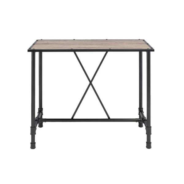 Industrial Style Black and Brown Rectangular Metal Bar Table with Wooden Top