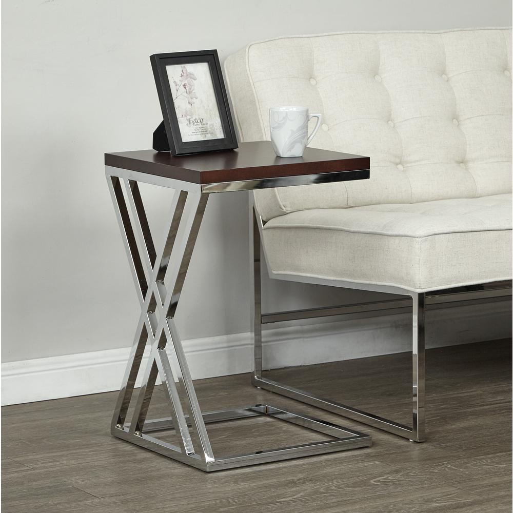 OSP Home Furnishings Wall Street Chrome/Espresso Coffee Table WST16-ESP
