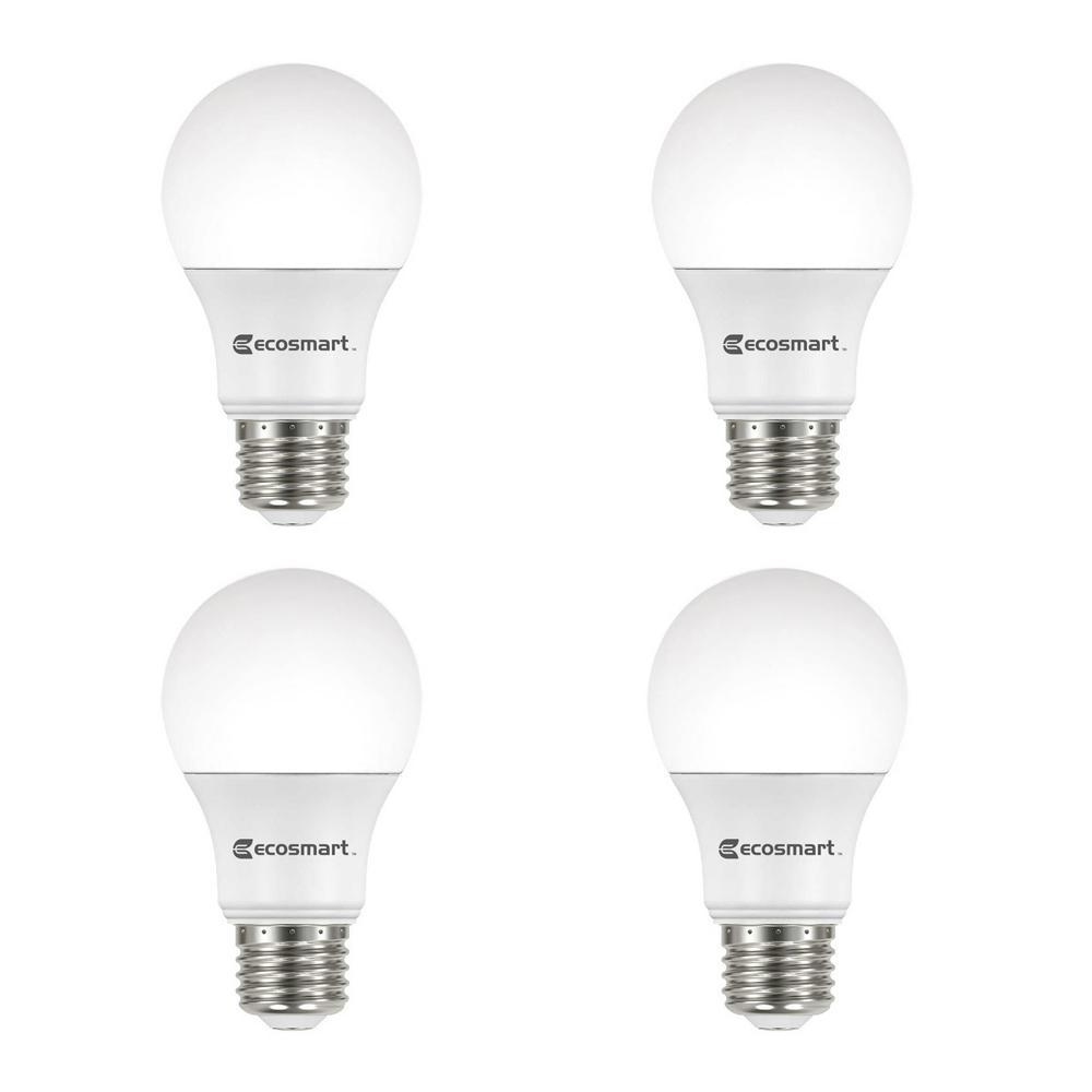 40 Watt Equivalent A19 Dimmable Energy Star Led Light Bulb Bright White 4 Pack