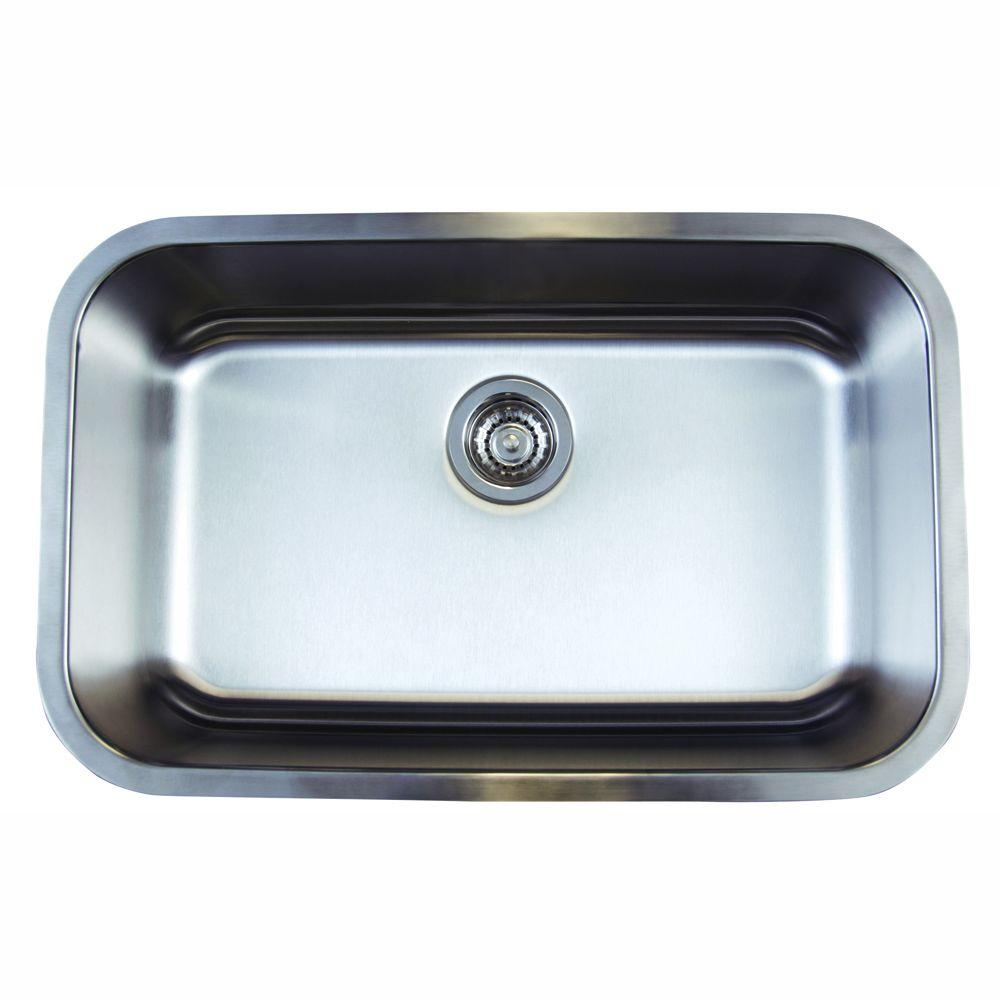 Stellar Undermount Stainless Steel 28 In 0 Hole Super Single Bowl Kitchen Sink