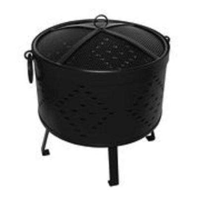 18 in. x 21 in. Round Rolled Steel Wood Fire Pit in Black