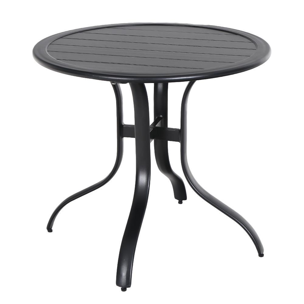 30 in. Commercial Aluminum Outdoor Patio Slat Top Bistro Table in Black