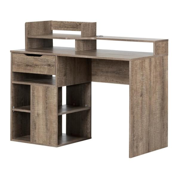 South Shore Holland Weathered Oak Desk with Hutch and Storage 12286