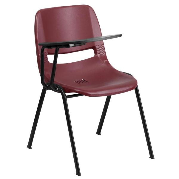 Flash Furniture Burgundy Ergonomic Shell Chair with Right Handed Flip-Up Tablet Arm