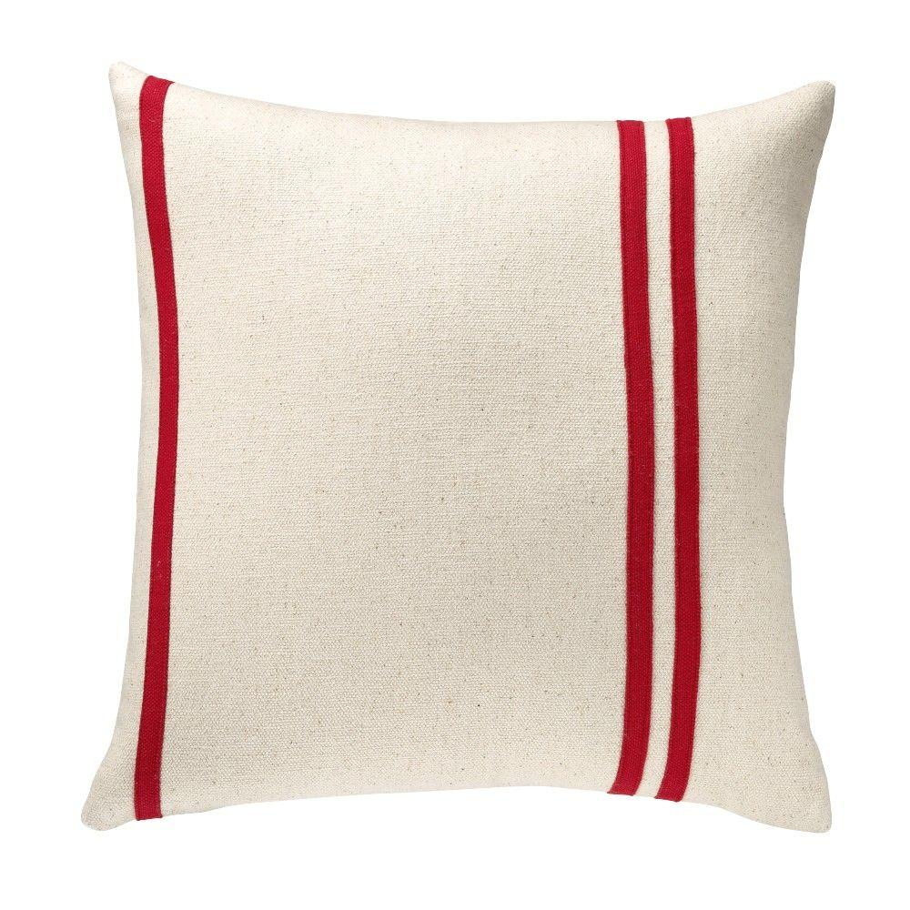 Home Decorators Collection 18 in. Red Asymmetrical Stripes Square Pillow