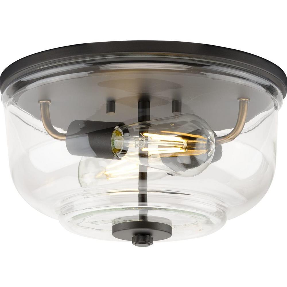 Rushton 2-Light Graphite Clear Glass Industrial Flush Mount Ceiling Light