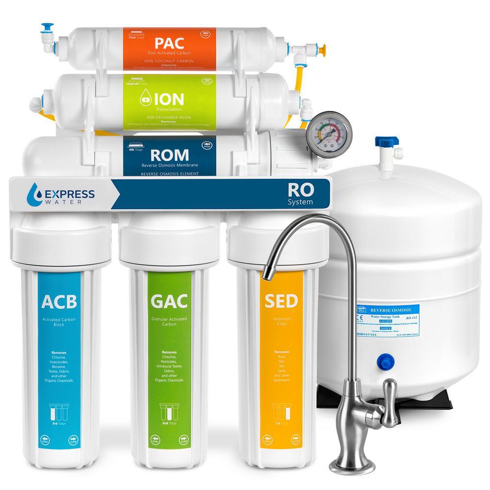 Deionization Under Sink Reverse Osmosis Water Filtration System - 6 Stage w/ Faucet & Tank - 100 GPD w/ Pressure Gauge