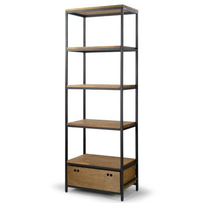 Amy Brown Pine Wood Display Shelf Etagere Metal Frame Bookcase with Drawer