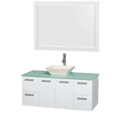 Amare 48 in. Vanity in Glossy White with Glass Vanity Top in Green, Porcelain Sink and 46 in. Mirror