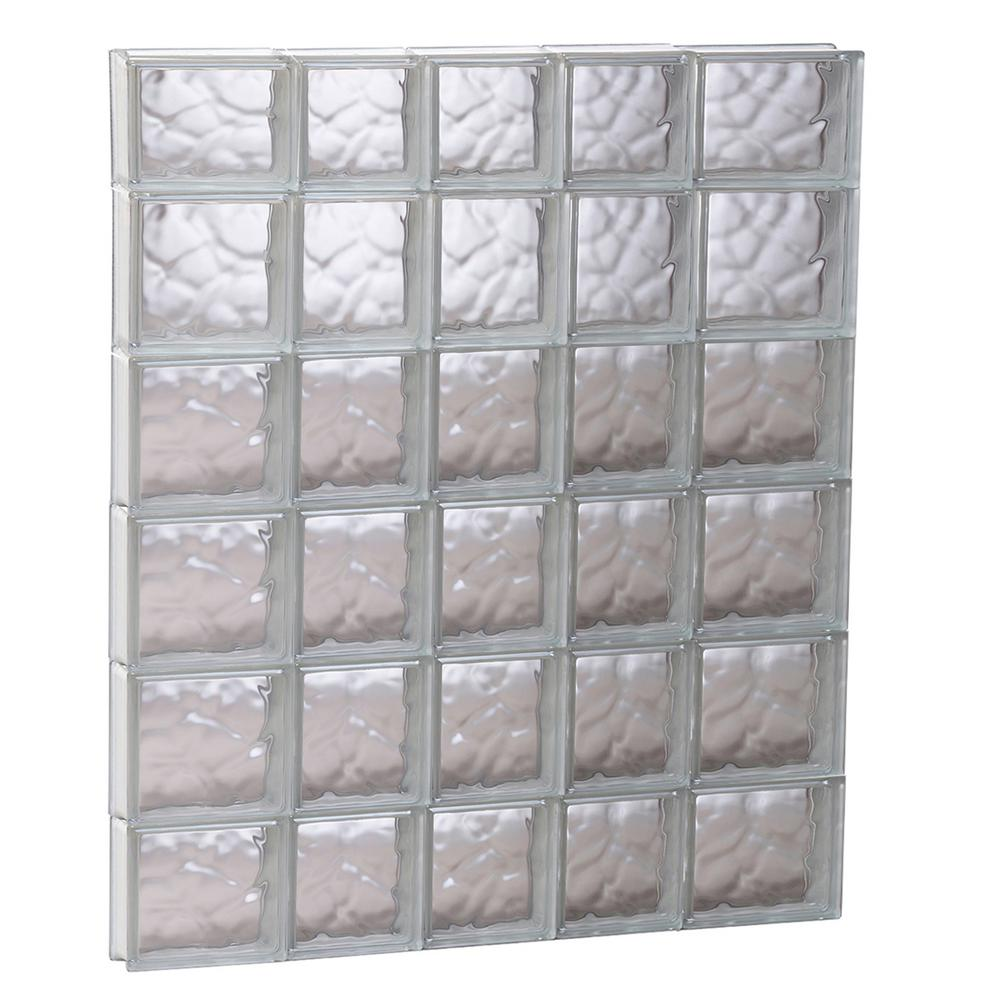 Clearly Secure 32.75 in. x 44.5 in. x 3.125 in. Frameless Wave Pattern Non-Vented Glass Block Window