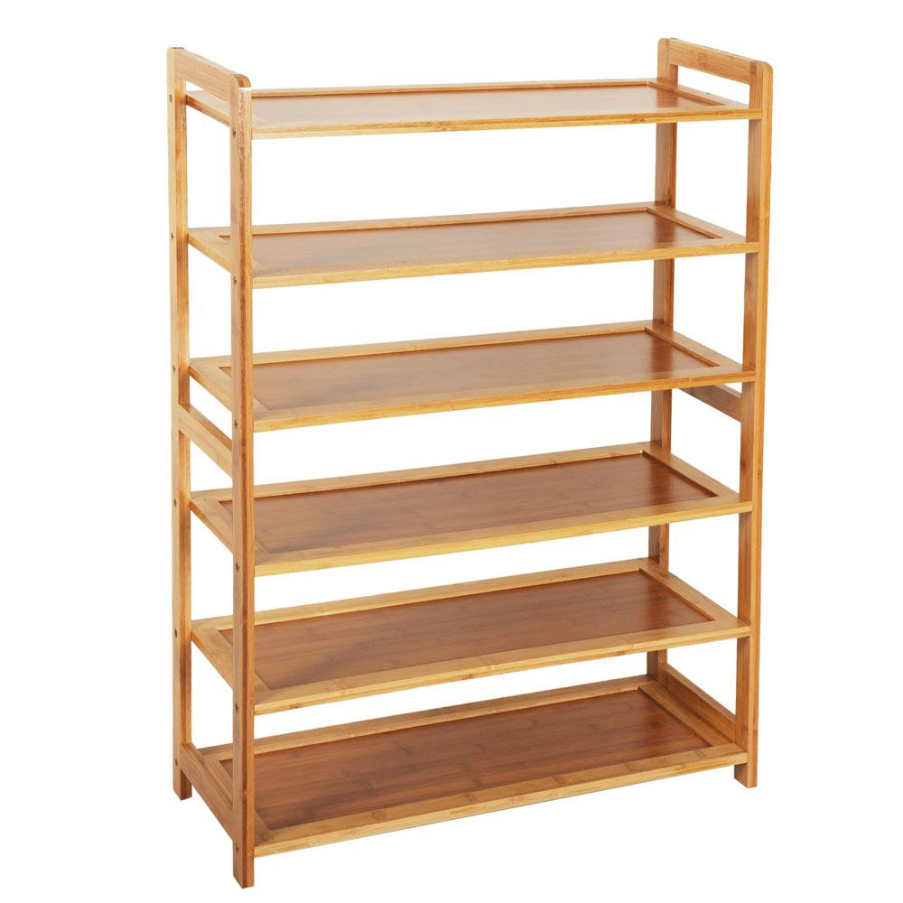 20-pair Concise Rectangle 6 Tiers Bamboo Shoe Rack Wood Color Shoe