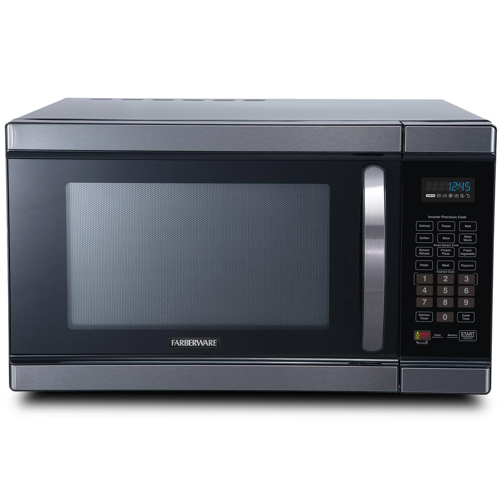 Farberware Black 1 1 Cu Ft Countertop Microwave In Black