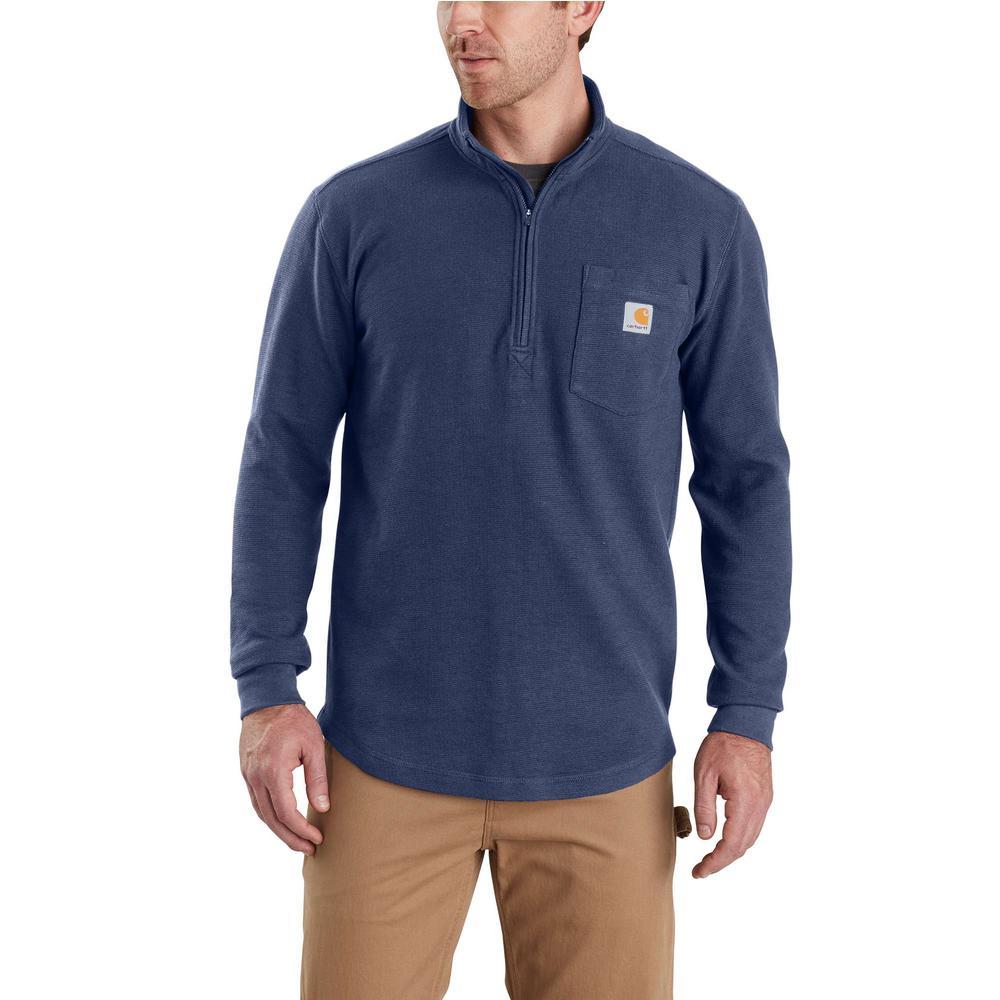 Men's Large Dark Cobalt Blue Cotton/Polyester Tilden Long Sleeve Half Zip Shirt