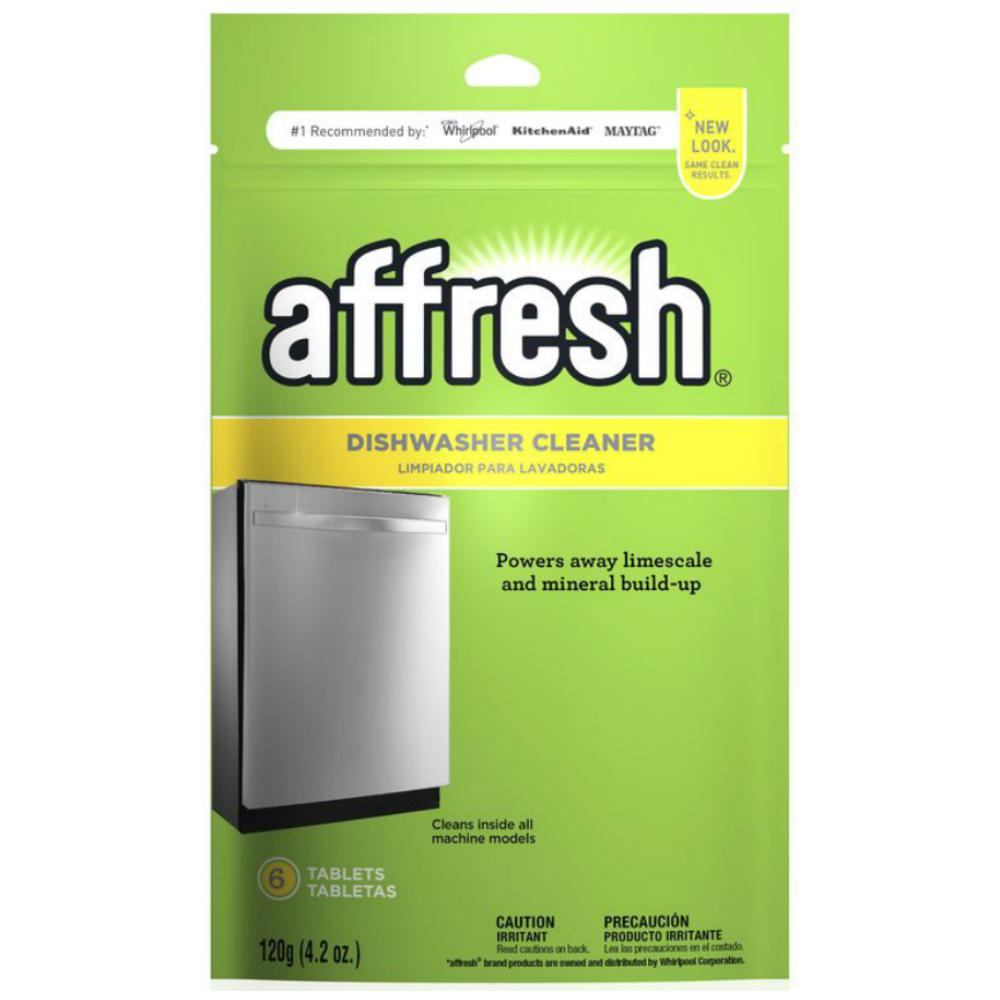 Affresh Dishwasher Cleaner The Affresh dishwasher cleaner is the powerful, ground-breaking solution for unwanted dishwasher odor. These innovative tablets help prevent odor in the dishwasher. Developed with the consumer in mind, these cleaner tablets help remove even the most stubborn odors from dishwashers. Use once a month or as needed for a cleaner fresher dishwasher. Affresh cleaner keeps the dishwasher fresh for up to a month by powering away hard water mineral residue. It's a fast and simple way to keep the inside of dishwasher clean and smelling fresh. Pouch contains 6 tablets.