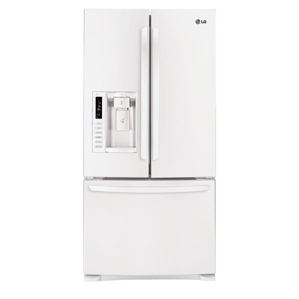 LG Electronics 33 in. W 24.9 cu. ft. French Door Refrigerator in Smooth White