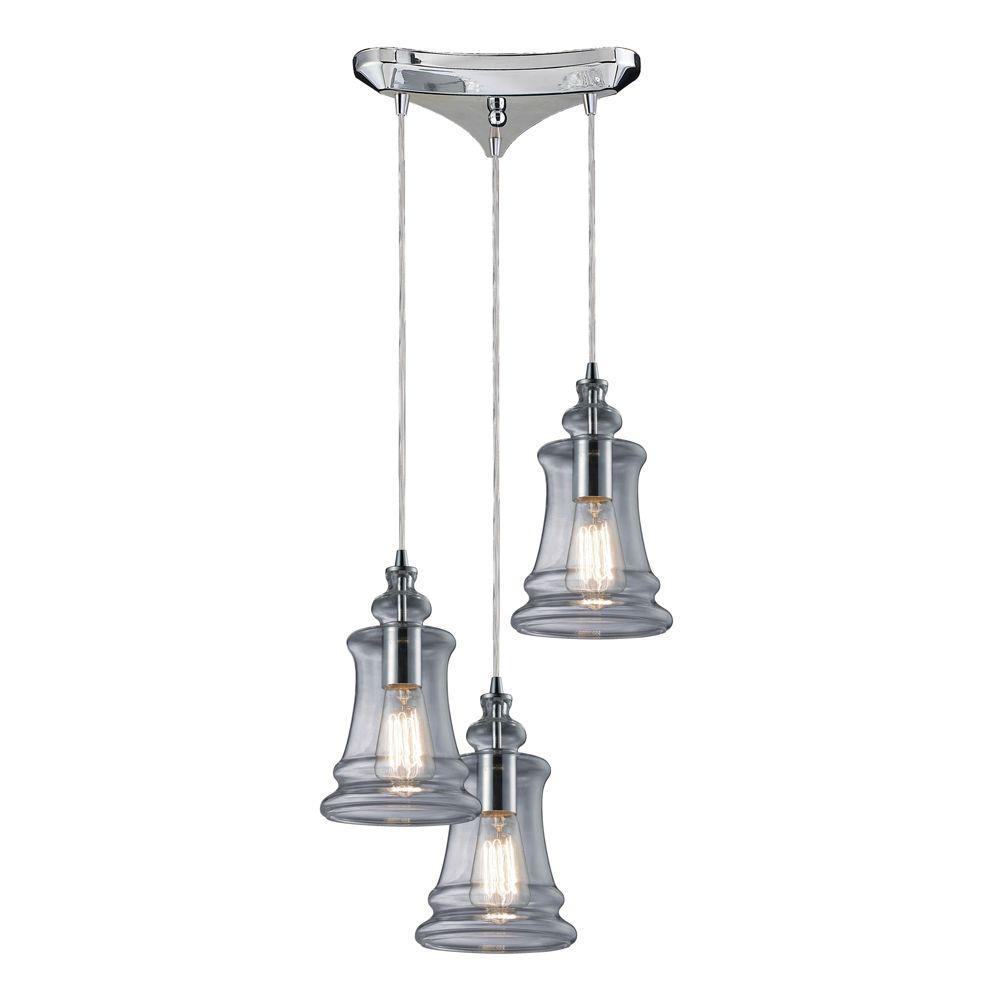 Titan Lighting Menlow Park 3-Light Polished Chrome Ceiling Mount Pendant