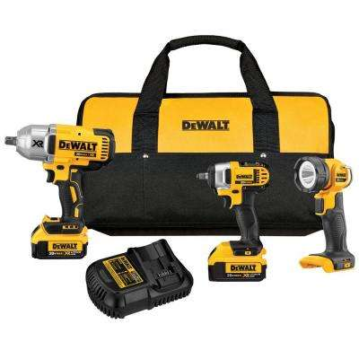20-Volt MAX Lithium-Ion Cordless Combo Kit (3-Tool) with (2) Batteries 4Ah, Charger and Contractor Bag