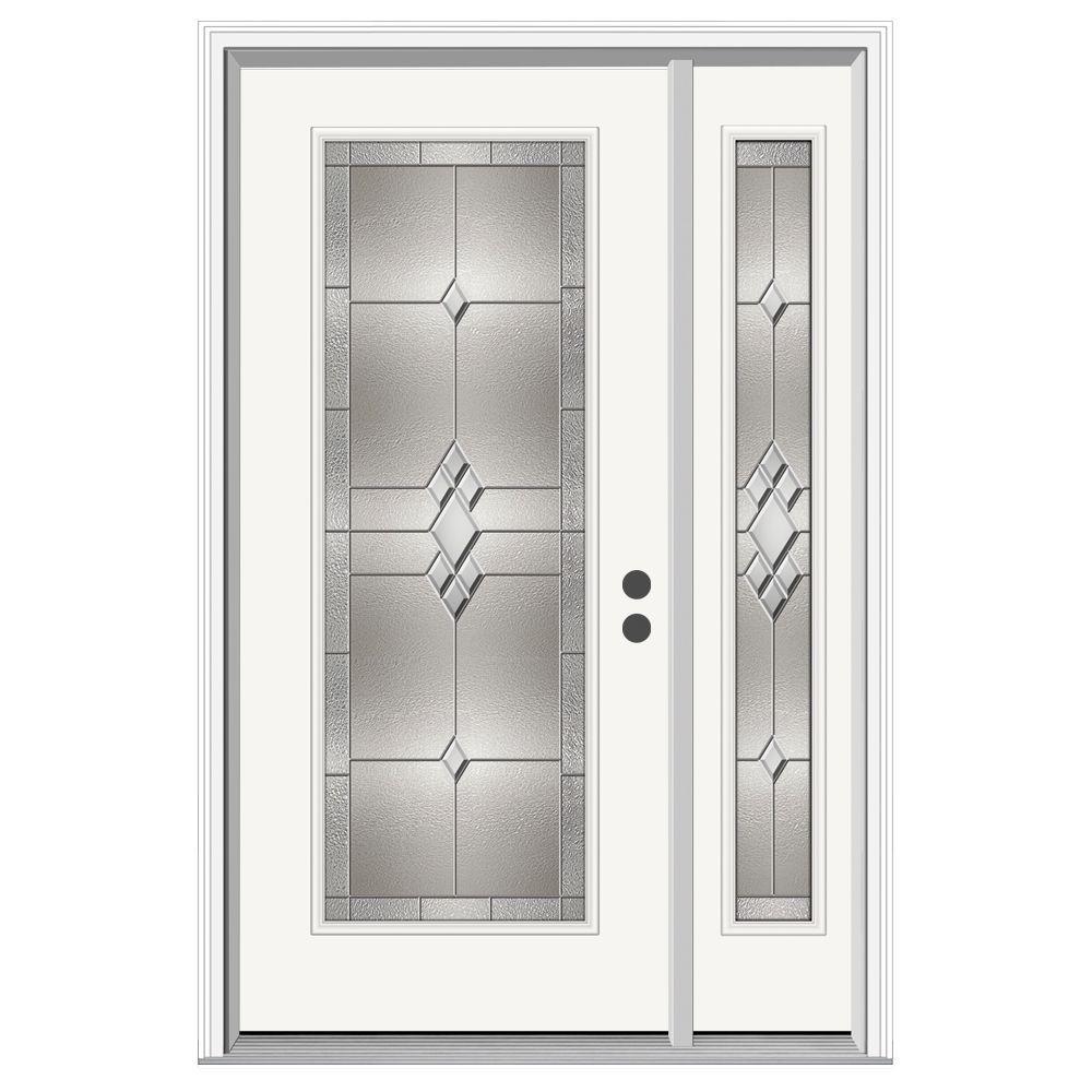JELD-WEN 50 in. x 80 in. Full Lite Kingston Primed Steel Prehung Left-Hand Inswing Front Door with Right-Hand Sidelite