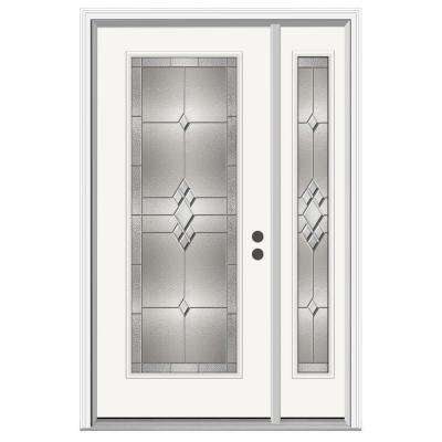 52 in. x 80 in. Full Lite Kingston Primed Steel Prehung Left-Hand Inswing Front Door with Right-Hand Sidelite