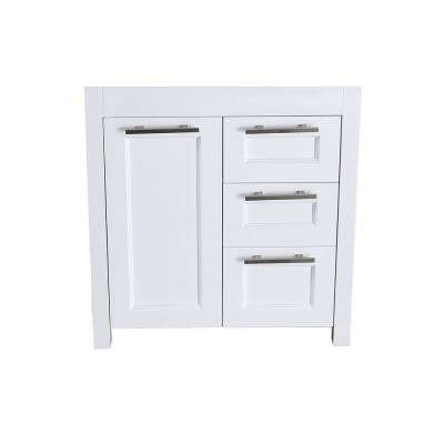 Bosconi 29 in. Main Cabinet Only in White with Brushed Nickel Hardware