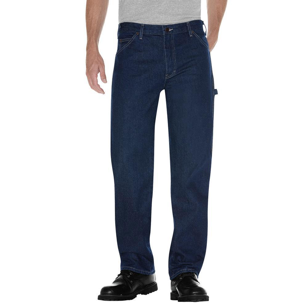 Dickies Mens RINSED INDIGO BLUE Relaxed Fit Carpenter Denim Jeans 1993RNB