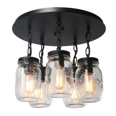 16 in. 5-Light Bronze Glass Jar Semi-Flush Mount Light