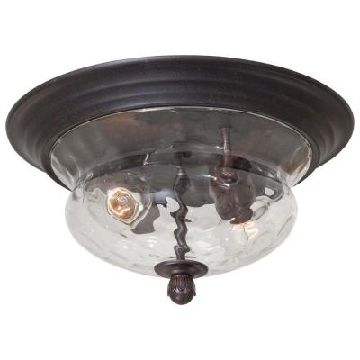 Merrimack 2-Light Corona Bronze Outdoor Flushmount