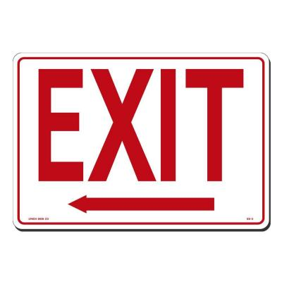 14 in. x 10 in. Exit with Arrow Left Sign Printed on More Durable, Thicker, Longer Lasting Styrene Plastic