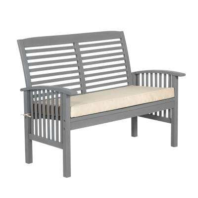 Boardwalk 48 in. Grey Wash Acacia Wood Outdoor Loveseat Bench with White Cushions