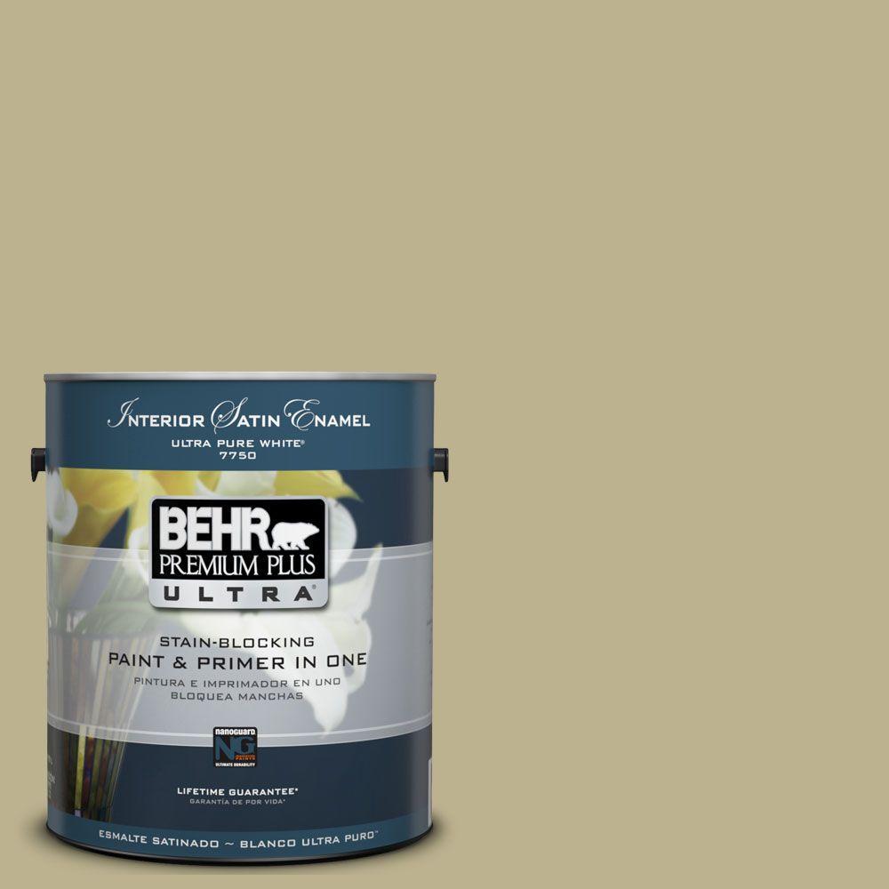 BEHR Premium Plus Ultra 1-Gal. #UL200-16 Wasabi Powder Interior Satin Enamel Paint