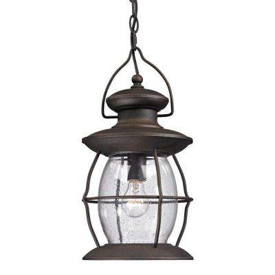 Big Oak Forge Collection 1-Light Weathered Charcoal Outdoor Pendant