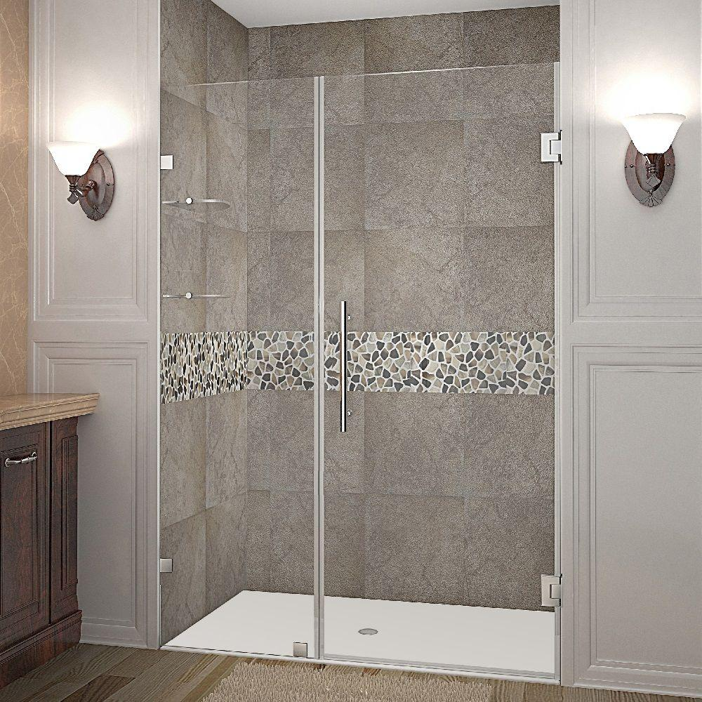 Aston Nautis Gs 50 In X 72 In Frameless Hinged Shower Door In Stainless Steel With Glass Shelves Sdr990 Ss 50 10 The Home Depot