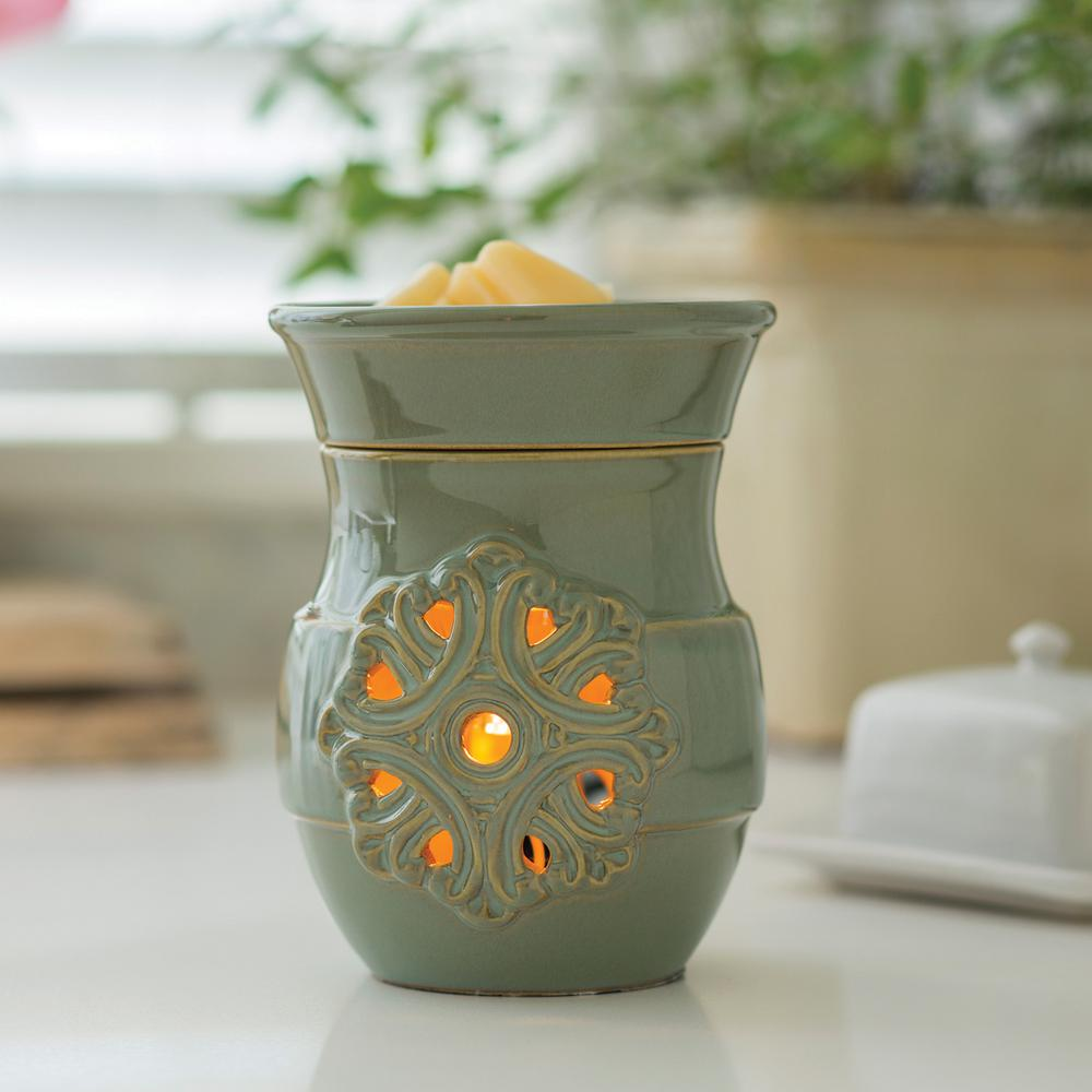 8.8 in. Medallion Illumination Fragrance Warmer, Green