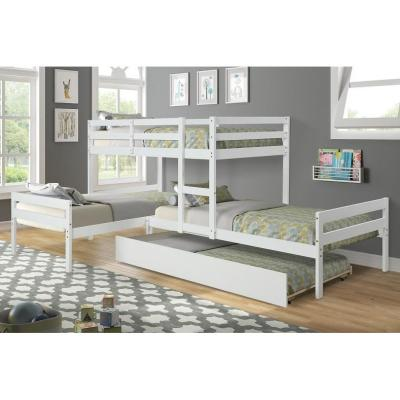L-Shaped Bunk Bed With Solid Wood Frame And Trundle Bed No Need For Box Spring