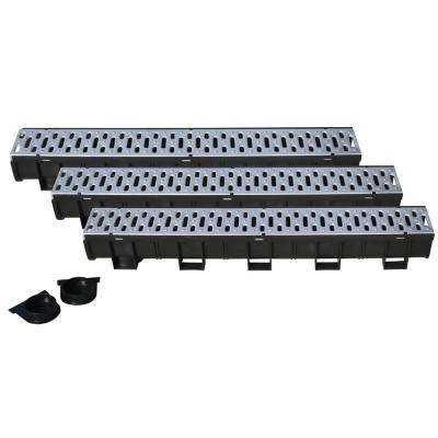Easy Drain Series 5.4 in. W x 5.4 in. D 39.4 in. L Trench and Channel Drain Kit with Stainless Steel Grate (3-Pack)