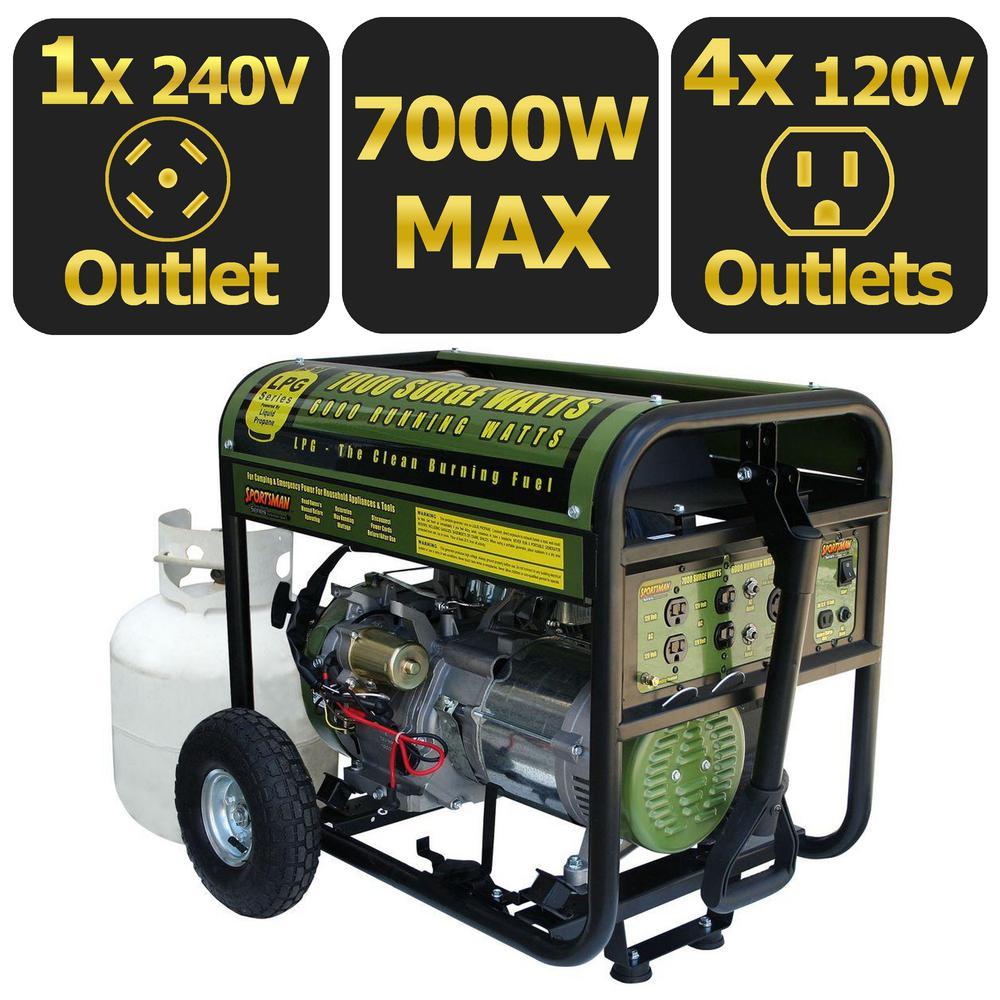 7,000-Watt Clean Burning LPG Propane Gas Powered Electric Start Portable Generator