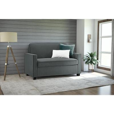 Casey 54 in. Gray Microfiber 4-Seater Twin Sleeper Convertible Sofa Bed with Square Arms