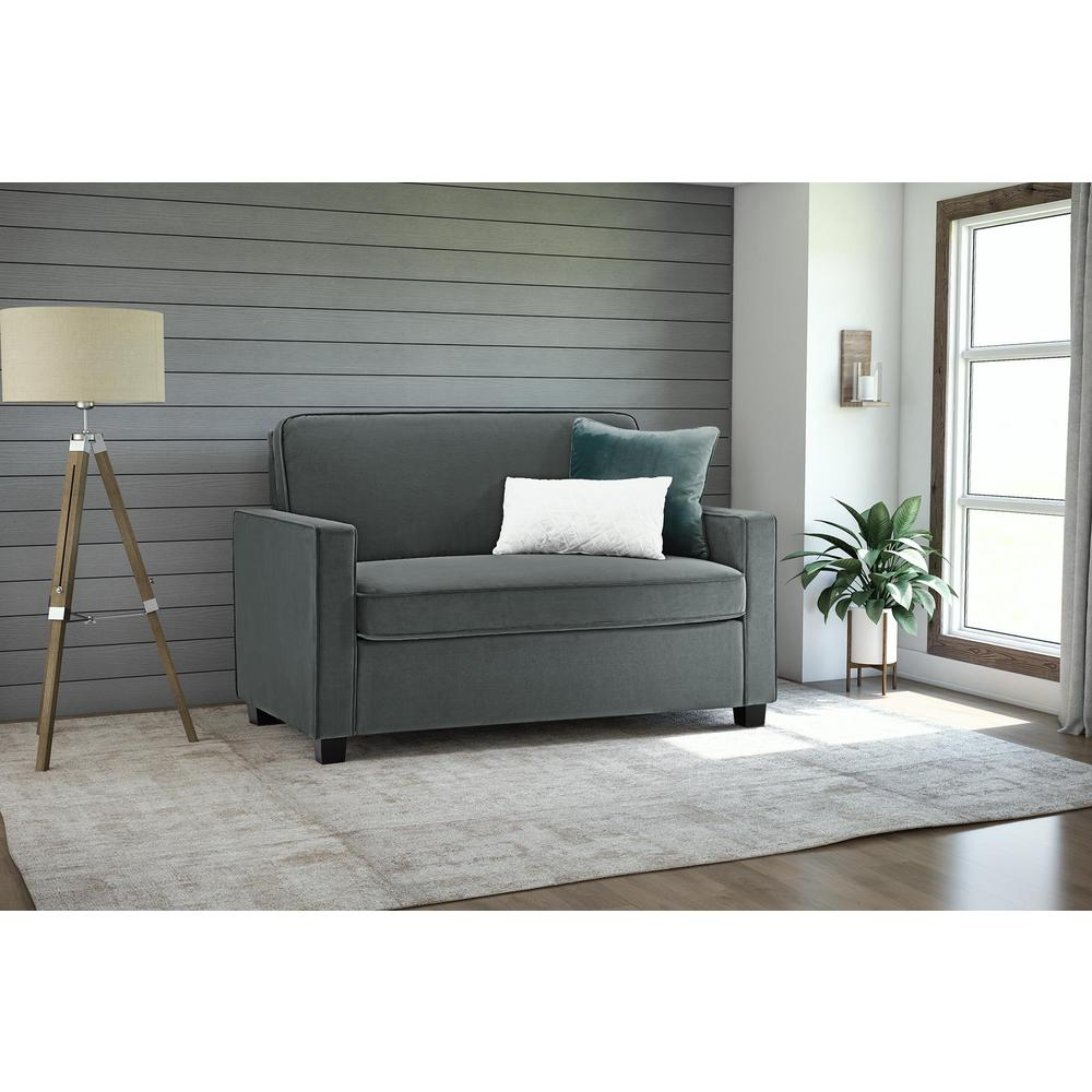 Casey Twin Size Grey Velvet Sleeper Sofa