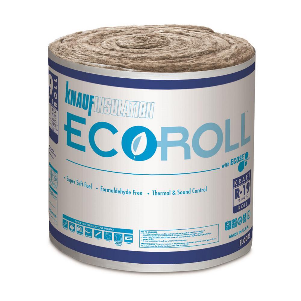 R-19 EcoRoll Kraft Faced Fiberglass Insulation Roll 23 in. x 39.2 ft. (12-Rolls)