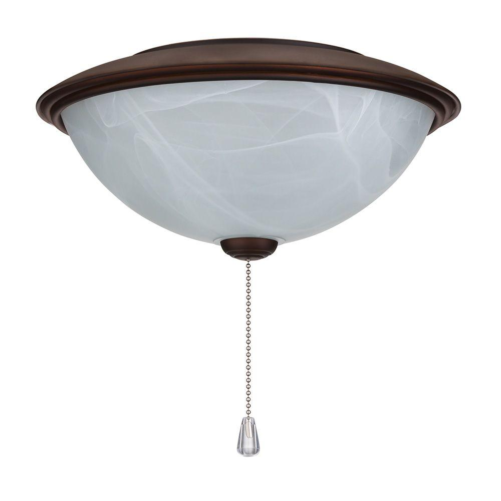 NuTone Alabaster Glass Contemporary Bowl Ceiling Fan Light Kit with Oil-Rubbed Bronze Trim