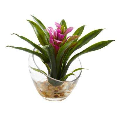 8 in. High Tropical Purple Bromeliad in Angled Vase Artificial Arrangement