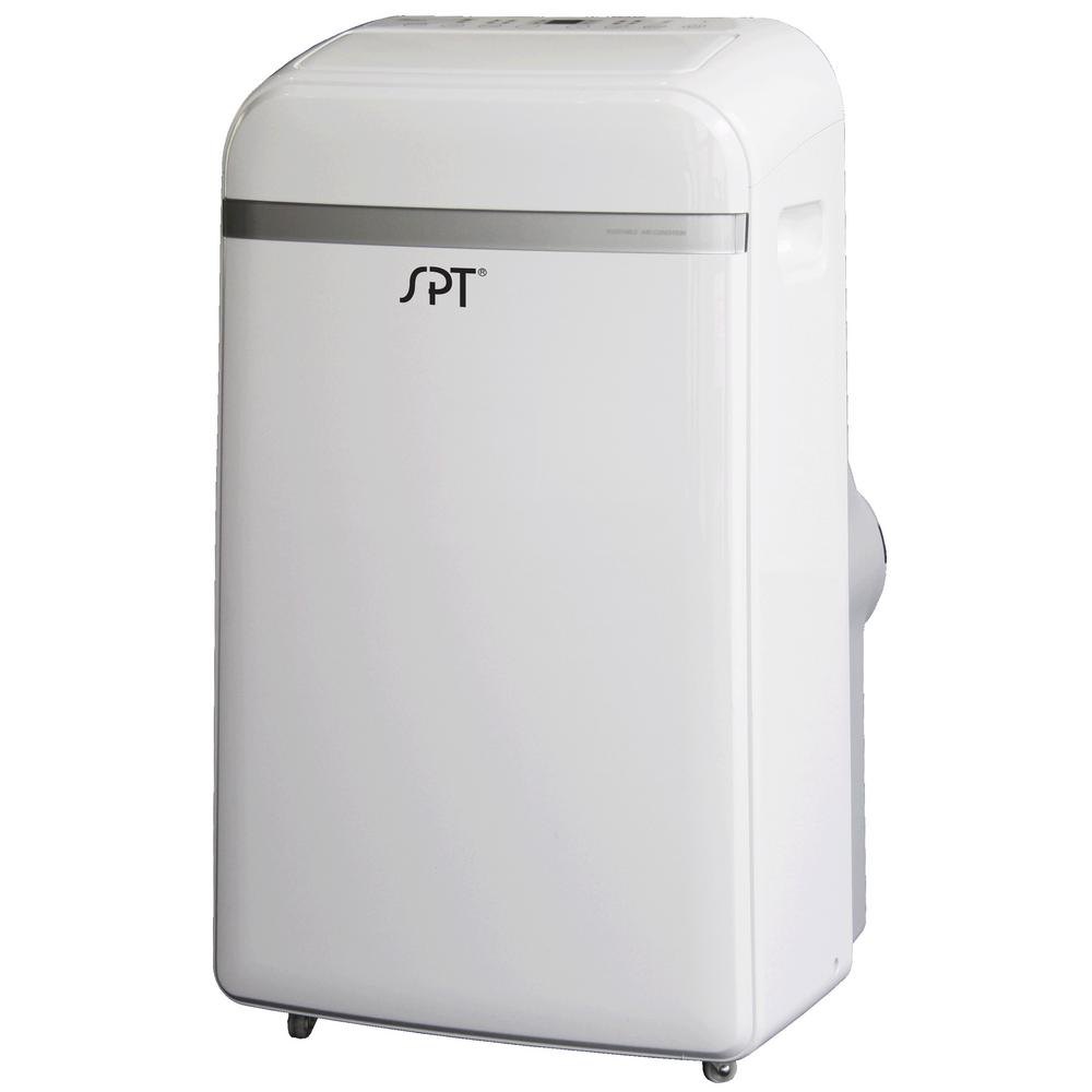 SPT 3-Speed 12,000 BTU Portable Air Conditioner for 550 sq. ft. with Dehumidifier Stay cool and comfortable this summer with this 12,000 BTU portable air conditioner. Unit features independent Dehumidifying function. Unit has a sleek design with remote and LCD panel.