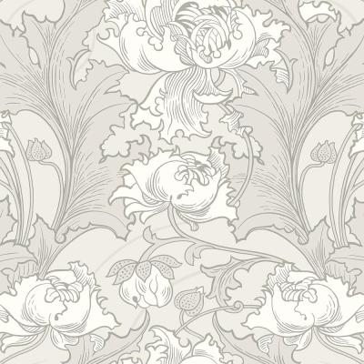 57.8 sq. ft. Siri Grey Floral Wallpaper