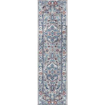 Modern Persian Vintage Medallion Light Grey/Light Pink 2 ft. x 8 ft. Runner Rug
