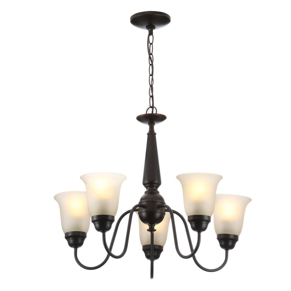 Commercial Electric 5-Light Oil-Rubbed Bronze Reversible Chandelier with Tea Stained Glass Shades
