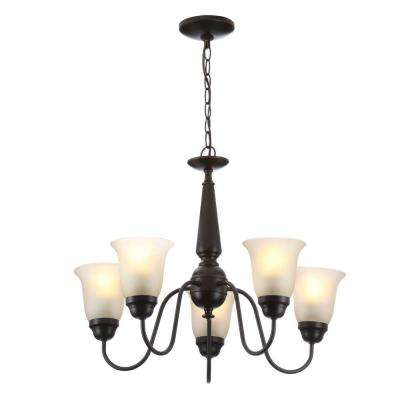 5-Light Oil-Rubbed Bronze Reversible Chandelier with Tea Stained Glass Shades