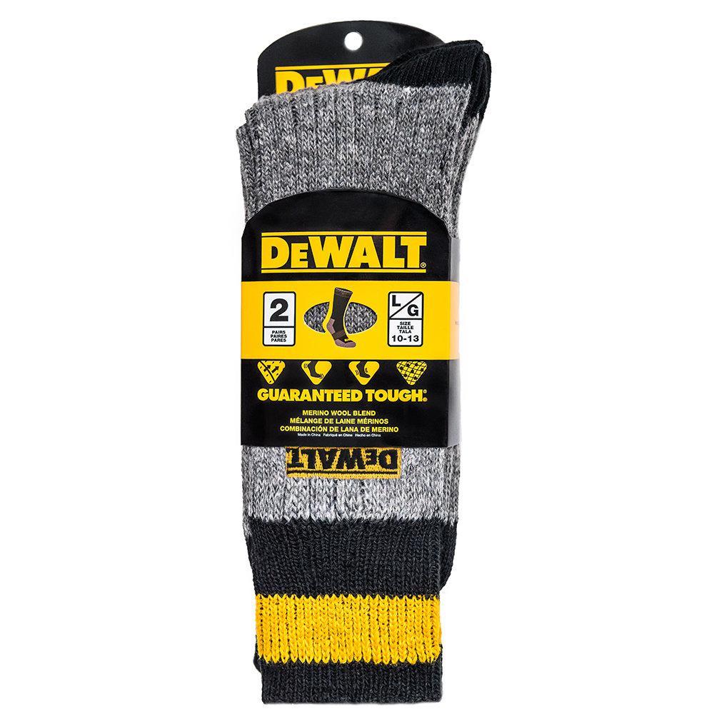 Men 10-13 Grey Wool Blend Boot Crew Sock (2-Pack)