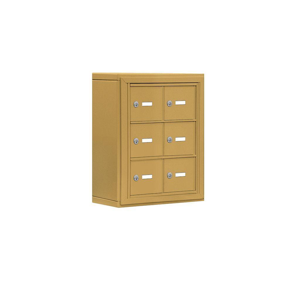 Salsbury Industries 19000 Series 17.5 in. W x 20 in. H x 6.25 in. D 6 A Doors S-Mount Keyed Locks Cell Phone Locker in Gold